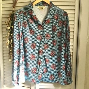 {Vintage} Lotus Flower 70's Vibe Button Down Top